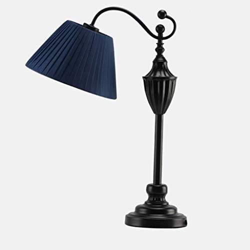DJSMtd Simples Habitación lámpara de cabecera Precioso Sala de Estar Estudio de Lectura lámpara de Mesa de Hierro Forjado Lámpara Pantalla de la Tela