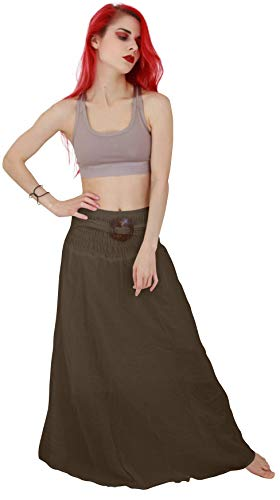 Billy's Thai Shop Cotton Maxi Skirt Long Skirts for Women Boho Gypsy Skirts Handmade Maxi Skirts for Women, Choco, Petite Size