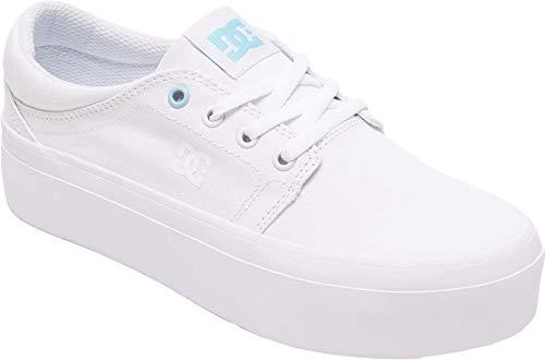 DC Women's Trase Platform TX Skate Shoe, White/White/Blue, 8.5 B M US