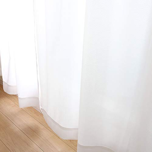 夜も透けにくい ミラーレースカーテン UVカット (WH) 遮熱 TEIJIN 涼しや 幅100cm×丈176cmの2枚組