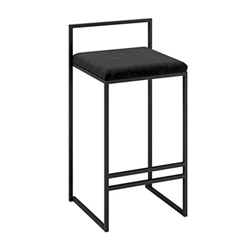 JINDAO-URG Bar Stools Chair for Counter Breakfast Kitchen Dining Room Cushion Makeup Chairs with Footrest and Backrest,Black,45cm URG