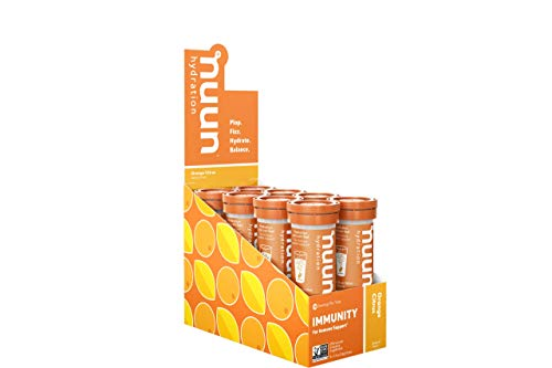 Nuun Immunity: Immune Support Hydration Supplement, Electrolytes, Antioxidants, Vitamin C, Zinc, Turmeric, Elderberry, Ginger, Echinacea - Orange Citrus - 8 Tubes (80 Servings)