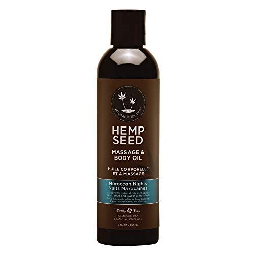 Hemp Seed Massage & Body Oil, Moroccan Nights Scent - 8 fl. oz. - Nourishing, Moisturizing Massage Oil - Hemp Seed, Apricot, Grapeseed & Sweet Almond Oil - Vegan & Cruelty Free