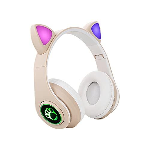 FDKJOK Gato oído lindo Bluetooth 5.0 luces LED coloridas juego sobre la oreja auricular inalámbrico (Kaki)