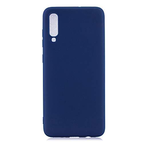 PuYu Zhe Funda Compatible con Samsung Galaxy A70, Carcasa Silicona Suave Gel Rasguño y práctico Teléfono Móvil Cover Azul Oscuro
