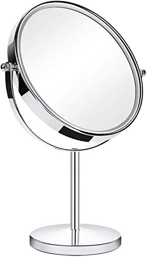 Miroir de Table, Double Face Miroir cosmétique sur Pied, Miroir de Maquillage Rond 1x et 3X Grossissement, Miroir pour Salle de Bain, Rond, Maquillage, env. Ø 20 cm, Argenté