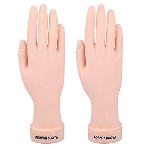 Practice Hand for Acrylic Nails, 2 Pack Fake Hand for Nails Practice, Flexible Bendable Mannequin Hand, Fake Hand Manicure Practice Tool(without practice nails)