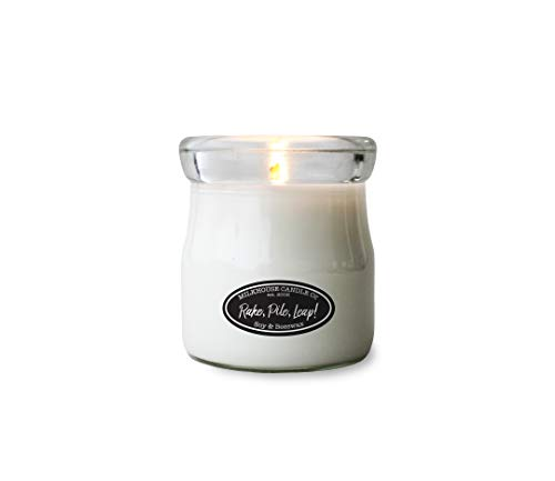 Milkhouse Candle Company, Creamery Collection, Scented Soy Candle: Cream Jar Candle, 5.5-Ounce, Rake, Pile, Leap!