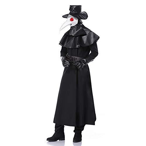 Disfraz de Cosplay del Doctor de la Peste con Mscara Disfraz de Doctor del Cuervo Disfraz de Halloween del Hroe Oscuro Mono Juego de Pico de la Peste Etapa Rendimiento Fancy Dress Ropa para Adultos