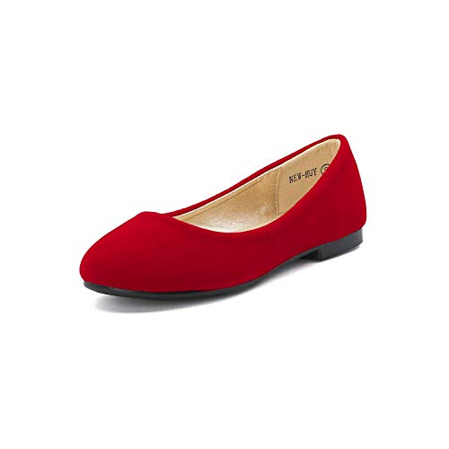 DREAM PAIRS Little Kid Muy Red Suede Girl's Mary Jane Ballerina Flat Shoes - 12 M US Little Kid