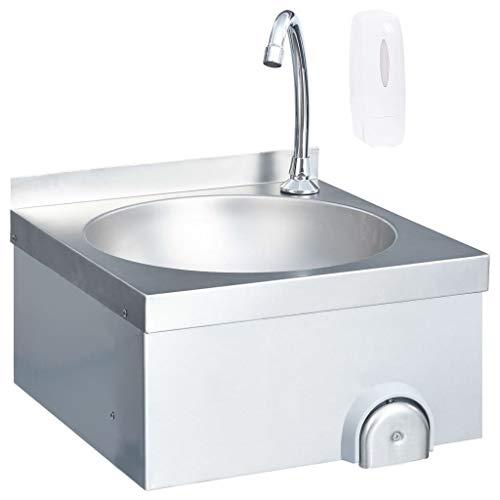 Tidyard Gastro-Handwaschbecken Edelstahl Waschbecken Ausgussbecken mit Wasserhahn 40 x 40 x 44 cm Für gewerbliche und Private Küchen