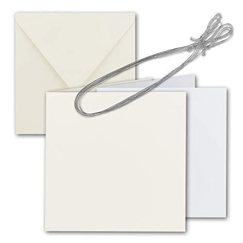 Vierkante vouwkaartenset 15 x 15 cm - met briefenveloppen & inlegbladen & sieradenband 10 Sets 22 - natuurlijk wit