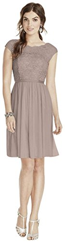 Short Lace and Mesh Bridesmaid Dress with Illusion Neckline Style F17019, Biscotti, 4