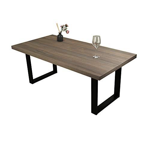POKAR Mesa de Café/Mesa de Centro Industrial/Mesa Auxiliar/Mueble Salon Comedor con Patas de Mesa de Acero Negro y Tablero de 3,6 cm, Aspecto El Olmo Ahumado Liberty, 120 x 60 x 47 cm