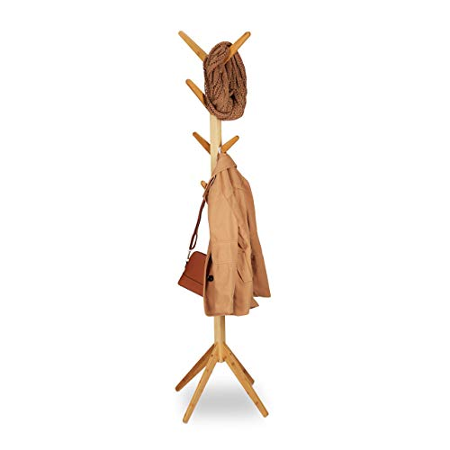 Relaxdays Perchero Pie en Forma de Árbol con 8 Colgadores, Madera de Bambú, Marrón, 179 x 40,5 x 40,5 cm