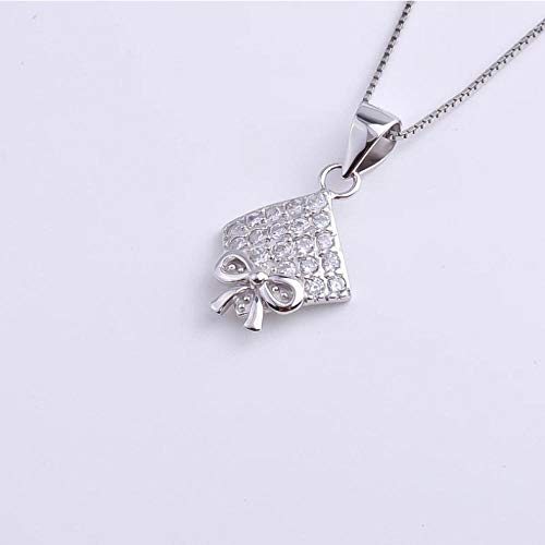 Necklace 925 Sterling Silver Bowknot Zircon Square Necklaces For Women Crystal Geometry Pendants Choker Party Fashion Jewelry