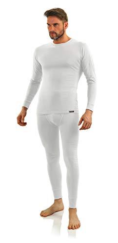 Sesto Senso Herren Unterwäsche Set Baumwolle 95% Langarmes Unterhemd Lange Unterhose Thermounterwäsche Winter Funktionsunterwäsche L Set Weiß