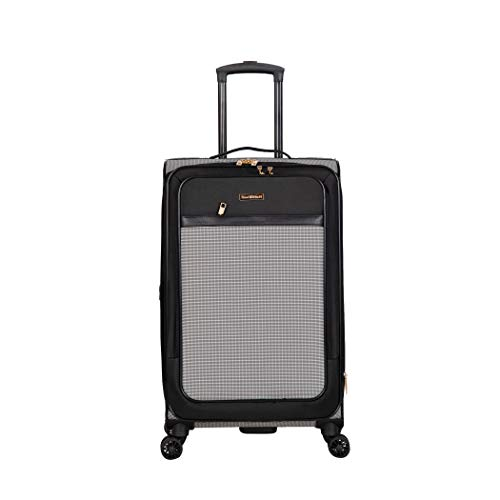 Isaac Mizrahi Greenwich 24' 8-Wheel Spinner Luggage, Black White