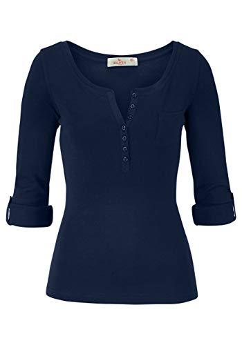 ELFIN Damen Langarmshirt Rundhals Leicht V-Ausschnitt Longsleeve T-Shirt Langarm Freizeit Oberteil Elegantes Stretchbar Henley Shirt Basic Tops, Blau, S