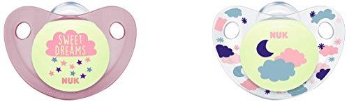 NUK Trendline Night Set mit 2Schnullern für Mädchen, Größe 2, farblich Sortiert