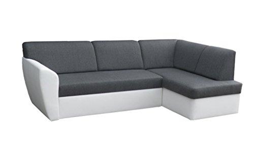 mb-moebel Ecksofa Sofa Eckcouch Couch mit Schlaffunktion und Bettkasten Ottomane L-Form Schlafsofa Polstergarnitur Margo (Ecksofa Rechts, Dunkelgrau)