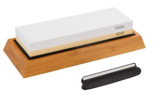 Whetstone 5000/10000 Grit Knife Sharpening Stone & Polishing Kit | 4-in-1 Waterstone Sharpener Set with NonSlip Bamboo Base & Angle Guide by Bili Life