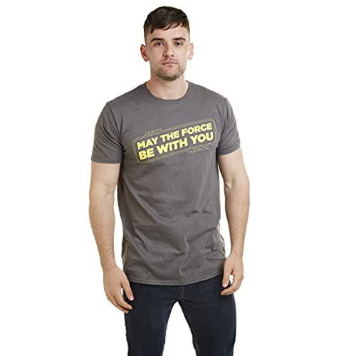Star Wars Force Slogan Camiseta, Gris (Charcoal Cha), XX-Large para Hombre