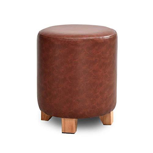 FSYGZJ Taburete de Madera Maciza Taburete de sofá Taburete de Cuero Banco de Zapatos Creativo Taburete de Estilo multifunción Creativo para el hogar multifunción (Color: Dark Red, Size: Large)