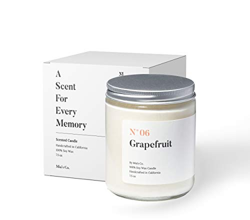 Mia's Co Grapefruit Scented Candle, Handmade with Natural Soy Wax and Cotton Wicks, 7.5 oz Minimalist Aromatherapy Candle for Home, Long Lasting Burning for Stress Relief, Candle Gift for Women
