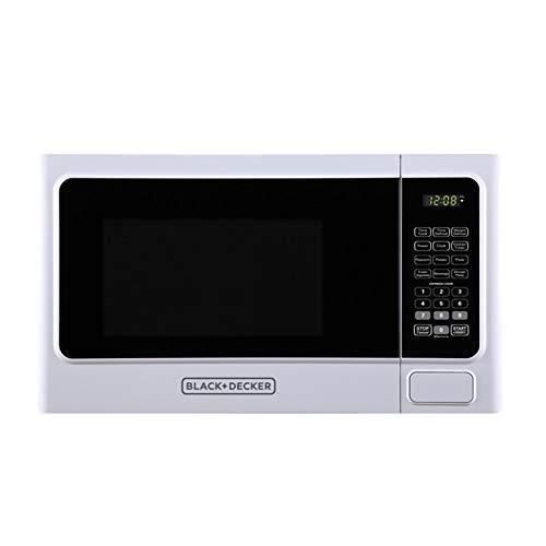 Black+Decker 1000 Watt 1.1 Cubic Feet Countertop Table Kitchen Home Dorm Compact Microwave Oven, White