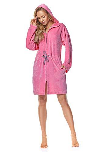L&L - 9118 Bademantel mit Reißverschluss Damen weicher, Warmer und Langer Bademantel. Ganzkörperansicht, Reißverschluss, Hausmantel mit Kapuze für Damen. (Pink, Large)