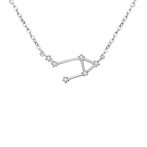 Clearine Halskette Sternzeichen 925 Sterling Silber Cubic Zirconia Sternbilder 12 Horoskop ''Wagge'' Astrologie Anhänger Kette Klar für Damen Mädschen