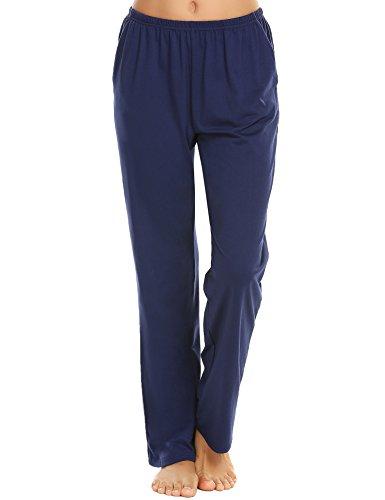 Ekouaer Plus Size Lounge Pants Women's Cotton Pajama Bottoms with Elastic Waistband (Navy,XXL)