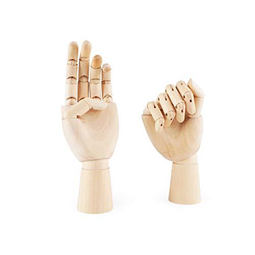 Jcevium Figura de mano izquierda y derecha de madera de 7 pulgadas, modelo de mano para dibujar, bocetar, pintar (izquierda y derecha).