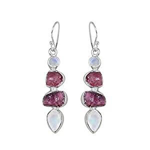 Raw Pink Tourmaline Moonstone Sterling Silver Earrings