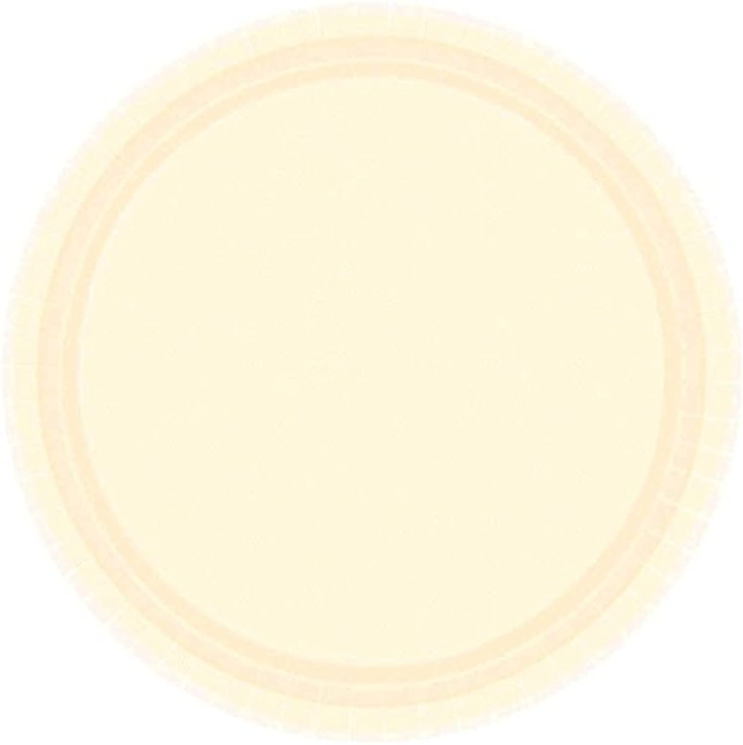 Amscan Durable Round Party Plates Tableware, Vanilla Crème, Paper, 10 , Pack of 20