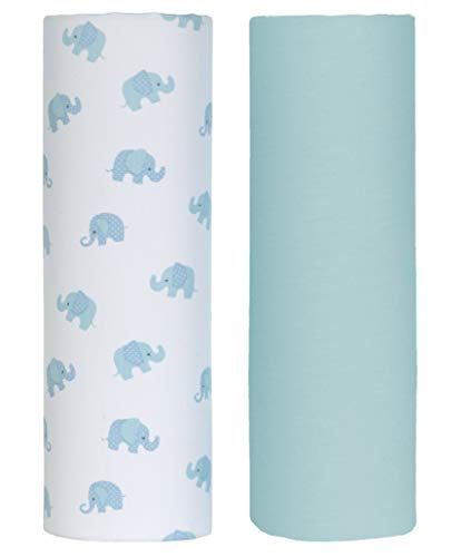 Cuddles & Cribs 2 Pack GOTS Certified Organic Cotton Fitted Crib Sheet - Blue, Elephant