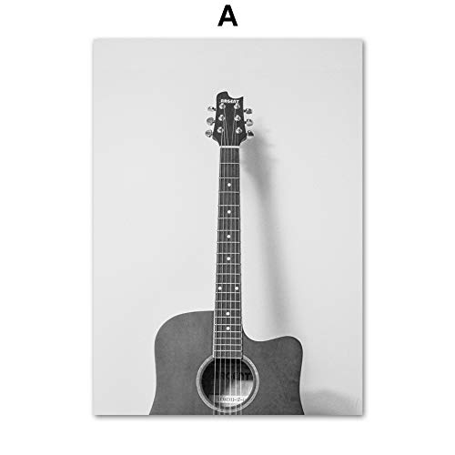 Geen frame Retro poster gitaar cd-speler muziek muur canvas schilderij nordic poster en prints woonkamer woondecoratie muur pai60x90cm