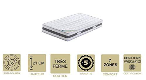 Provence Literie - Colchón con Memoria de Forma (62 kg/m3 x 21 cm, Muy Firme, 7 Zonas de Confort, núcleo Aertech+ 35 kg/m3 HR de Alta Densidad, hipoalergénico, Tela, Blanco, 2x90x200