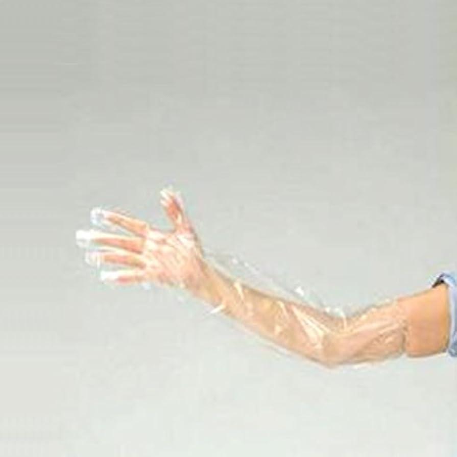 鋸歯状レース囚人ロングPE手袋 透明 LPE-F 2000枚入(50枚×40箱)
