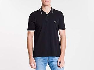 Camisa Polo Manga Curta, Calvin Klein, Masculino, Preto, P