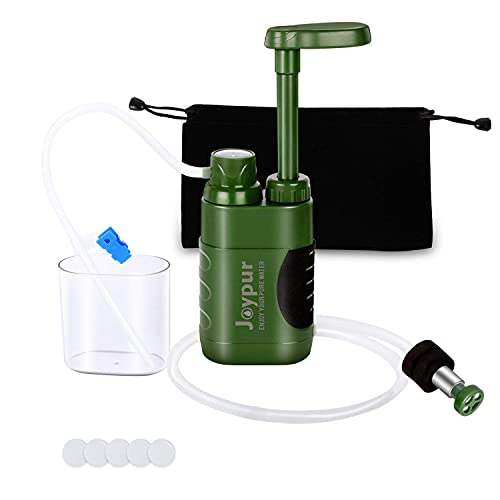 joypur Outdoor Water Purifier Pump,3-Stage Water Filter,0.01 Micron Emergency Portable Water Filtered for Hiking,Survival Gear,Camping, Hiking, Backpacking