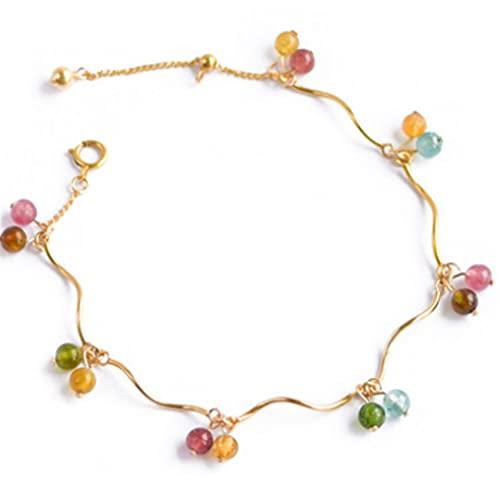Cosaike Feng Shui Cristal curación Pulsera Natural turmalina 14k Oro Afortunado Encanto Chakra Equilibrio Brazalete Vacaciones joyería Amuleto atrae Riqueza Dinero Prosperidad Suerte