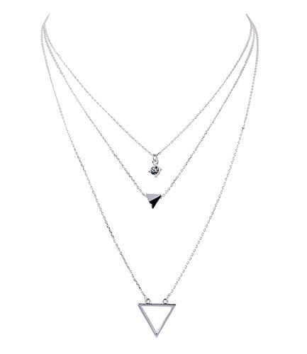 SIX Damen Halskette, Gliederkette, Dreickeck, Strassstein, Layering Look, Silber (779-679)