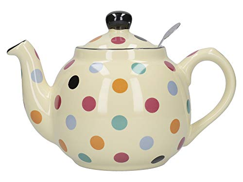 London Pottery Farmhouse - Teiera a pois con infusore, ceramica, avorio/multispot, 600 ml
