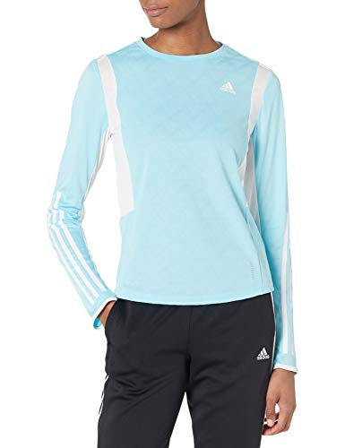 adidas womens Own The Run 3-Stripes Long Sleeve Hazy Sky/White Medium