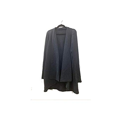 Eileen Fisher Charcoal Merino Wool Ribbed Angled Front Cardigan 2X 3X (2X)
