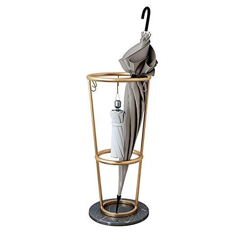 WXQIANG Soporte de paraguas de hierro para interiores, soporte de paraguas redondo dorado con gancho, sostiene bastón para pasillos, baños, decoración de interiores, decoración del hogar y