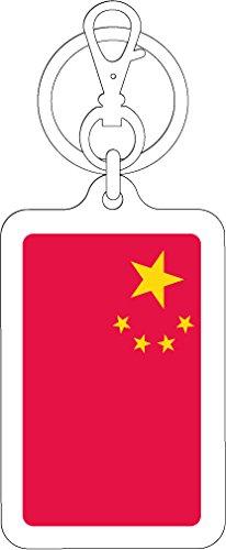 K-SK222 中国 CHINA 100円国旗ステッカー キーホルダー (WHITE)