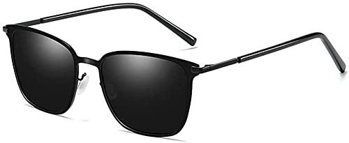 Gafas de sol polarizadas para hombre con diseño de caja de metal, protección UV400, lente gris (color: oro)